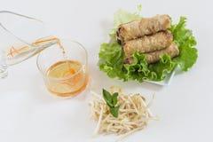 亚洲春卷在一个板材特写镜头和调味汁油煎了在白色 库存照片