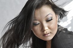 亚洲有吸引力的纵向妇女年轻人 免版税库存照片