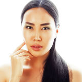 亚洲有吸引力的背景美好的秀丽白种人中国特写镜头表面女性查出混合模型理想的纵向种族皮肤白人妇女 美好的有吸引力的m 库存图片