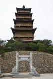 亚洲汉语、古色古香的大厦、文峰塔和石曲拱, 图库摄影