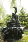 亚洲汉语,北京,国际雕塑公园,古代人, guzheng 库存图片