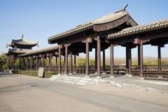 亚洲汉语,北京,重创的Canale森林公园,长的走廊,亭子 免版税图库摄影