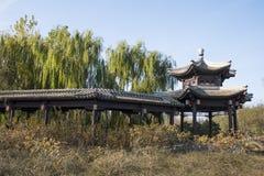 亚洲汉语,北京,重创的Canale森林公园,长的走廊,亭子 库存照片
