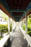亚洲汉语,古色古香的大厦,走廊 库存照片