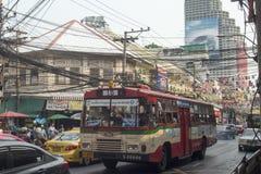 亚洲泰国曼谷河沿城市生活公共汽车 图库摄影
