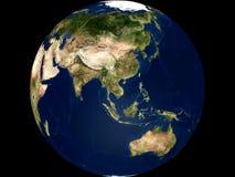亚洲澳洲地球视图 库存照片