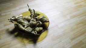 亚洲烹调ketupat palas或被包装的米 免版税库存照片
