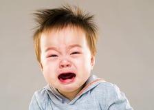 亚洲男婴哭泣 免版税库存照片