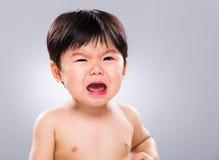 亚洲男婴啼声 免版税库存图片