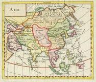 亚洲的古色古香的地图显示印度中国俄罗斯日本1750 免版税库存图片