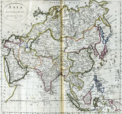 亚洲的古色古香的地图 库存图片