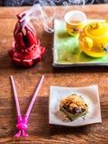 亚洲黑米小包用茶 免版税图库摄影