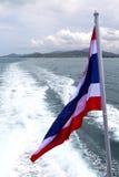 亚洲缅甸samui海湾小岛挥动的旗子和南中国海 免版税图库摄影