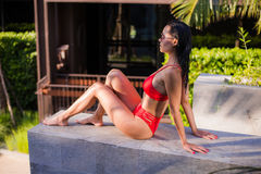 亚洲美丽的位于在池手段微笑的星期日晒日光浴的旅行热带妇女年轻人附近的比基尼泳装白种人懒人 美丽的少妇在阴影坐在豪华旅馆在附近 库存照片