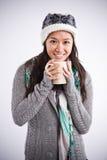 亚洲美丽的咖啡饮用的妇女 免版税库存照片