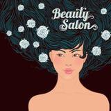 亚洲美丽的流的女孩头发 免版税库存照片