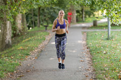 亚洲美好的白种人日种族健身跑步的马拉松混合模型室外公园连续体育运动夏天阳光培训妇女 免版税库存图片