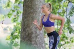 亚洲美好的白种人日种族健身跑步的马拉松混合模型室外公园连续体育运动夏天阳光培训妇女 库存照片