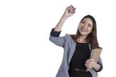 亚洲背景企业女实业家图表图画图形增长查出显示成功诉讼虚拟白人妇女的利润屏幕 免版税库存图片
