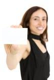 亚洲背景美丽的空白企业女实业家看板卡查出显示常设白人妇女年轻人 免版税图库摄影