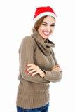 亚洲背景美好的白种人圣诞节女性帽子查出混合模型纵向红色圣诞老人微笑的佩带的白人妇女年轻人 库存图片