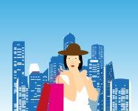 亚洲背景请求美好的白种人方式女性充分的愉快的藏品快乐的夫人长度混合模型粉红色种族顾客购物微笑的走的妇女年轻人 免版税库存照片