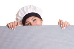 亚洲背景面包师广告牌白种人主厨厨师表达式滑稽查出的查找在纸符号使白人妇女年轻人惊奇 库存图片