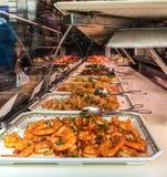亚洲自助餐显示在巴黎餐馆 库存照片