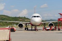 亚洲航空喷气机飞行 库存照片