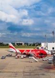 亚洲航空在曼谷,泰国 免版税图库摄影