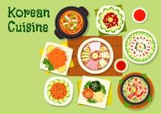 亚洲菜单设计的韩国烹调盘象 库存图片