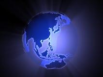 亚洲蓝色大陆巨大的行星 库存照片