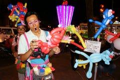 亚洲街道艺术家,可笑的ballloon 图库摄影