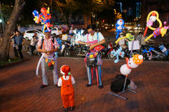 亚洲街道艺术家,可笑的ballloon 免版税库存图片