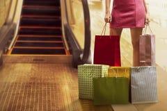 亚洲袋子购物的妇女 免版税库存图片