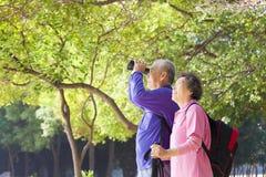 亚洲资深夫妇在度假 免版税库存照片