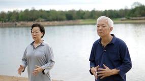 亚洲资深年长夫妇实践Taichi,启功锻炼ne 图库摄影