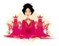 亚洲风景和美丽的艺妓 向量例证