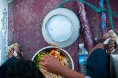 亚洲食人的食物从上面 免版税库存图片