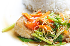 亚洲食物:被蒸的三文鱼 库存图片
