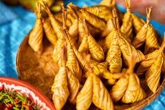 亚洲食物 泰国Ketupat Daun Palas (米饺子) 泰国 免版税库存照片