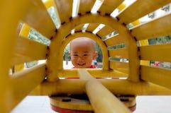 亚洲婴孩微笑 免版税库存照片