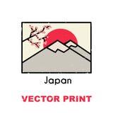 亚洲T恤杉印刷品 并且可以为明信片使用、杯子、海报、磁铁或者另一服装和纪念品产品设计 免版税库存照片