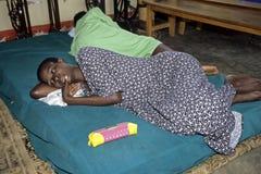 死亡病的乌干达艾滋病患者重病 免版税库存照片