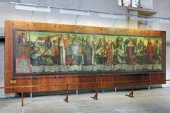 死亡的象征死亡之舞,后中世纪绘画在塔林圣尼古拉斯教会里  库存照片