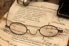 死亡证书样品在战争再制定葛底斯堡,宾夕法尼亚, 2013年5月的 库存照片