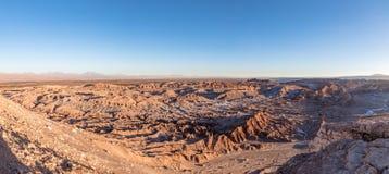 死亡谷-阿塔卡马沙漠,智利全景日落的 免版税库存图片