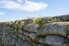 死亡WW1沙袋富兰德沟槽调遣比利时 免版税库存图片