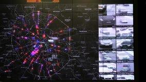 交互式地图在交通监控中心显示统计 影视素材