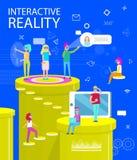 交互式现实摘要虚拟世界海报 皇族释放例证